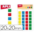 Gomets Apli cuadrados 20x20 mm 3d colores surtidos bolsa de 24 unidades