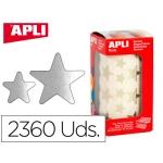Gomets Apli estrella plata bolsa de 2360 unidades