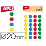 Gomets Apli redondos 20 mm 3d colores surtidos bolsa de 24 unidades