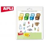 Gomets Apli temático reciclaje adhesivo removible bolsa de 3 hojas
