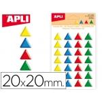 Gomets Apli triangulares 20x20 mm 3d colores surtidos bolsa de 28 unidades