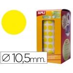 Gomets autoadhesivos circulares 10,5 mm color amarillo en rollo