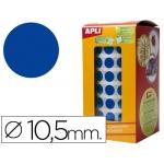 Gomets autoadhesivos circulares 10,5 mm color azul en rollo