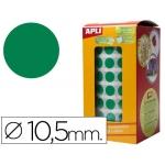 Gomets autoadhesivos circulares 10,5 mm color verde en rollo