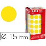 Gomets autoadhesivos circulares 15 mm color amarillo en rollo con unidades