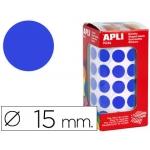 Gomets autoadhesivos circulares 15 mm color azul en rollo con unidades
