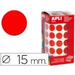 Gomets autoadhesivos circulares 15 mm color rojo en rollo con unidades