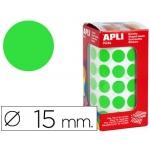 Gomets autoadhesivos circulares 15 mm color verde en rollo con unidades