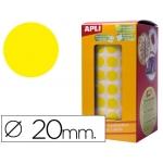 Gomets autoadhesivos circulares 20 mm color amarillo en rollo