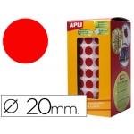 Gomets autoadhesivos circulares 20 mm color rojo en rollo