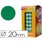 Gomets autoadhesivos circulares 20 mm color verde en rollo