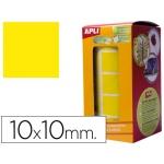 Gomets autoadhesivos cuadradas 10x10 mm color amarillo en rollo