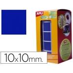 Gomets autoadhesivos cuadradas 10x10 mm color azul en rollo