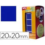 Gomets autoadhesivos cuadradas 20x20 mm color azul en rollo