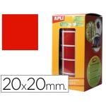 Gomets autoadhesivos cuadradas 20x20 mm color rojo en rollo
