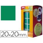 Gomets autoadhesivos cuadradas 20x20 mm color verde en rollo