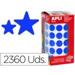 Gomets autoadhesivos estrellas surtidas color azul en rollo con unidades
