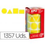 Gomets autoadhesivos figuras geométricas tamaño xl color amarillo en rollo con unidades