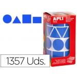Gomets autoadhesivos figuras geométricas tamaño xl color azul en rollo con unidades