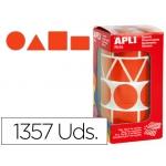 Gomets autoadhesivos figuras geométricas tamaño xl color rojo en rollo con unidades