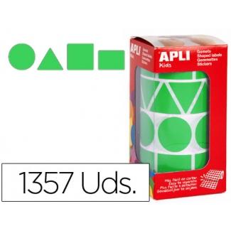 Gomets autoadhesivos figuras geométricas tamaño xl color verde en rollo con unidades