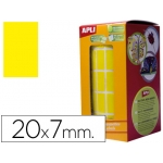 Gomets autoadhesivos rectangulares 20x7 mm color amarillo en rollo