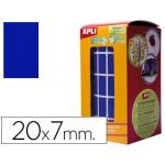 Gomets autoadhesivos rectangulares 20x7 mm color azul en rollo