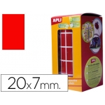 Gomets autoadhesivos rectangulares 20x7 mm color rojo en rollo