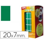 Gomets autoadhesivos rectangulares 20x7 mm color verde en rollo