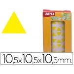 Gomets autoadhesivos triangulares 10,5x10,5x10,5 mm color amarillo en rollo