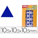 Gomets autoadhesivos triangulares 10,5x10,5x10,5 mm color azul en rollo