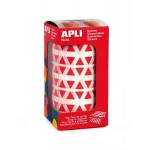 Gomets autoadhesivos triangulares 10,5x10,5x10,5 mm color rojo en rollo