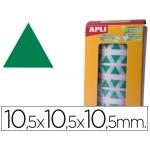Gomets autoadhesivos triangulares 10,5x10,5x10,5 mm color verde en rollo