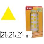 Gomets autoadhesivos triangulares 21x21x21 mm color amarillo en rollo