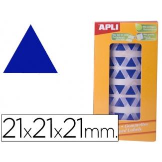 Gomets autoadhesivos triangulares 21x21x21 mm color azul en rollo