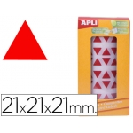 Gomets autoadhesivos triangulares 21x21x21 mm color rojo en rollo
