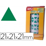 Gomets autoadhesivos triangulares 21x21x21 mm color verde en rollo