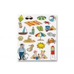 Gomets escolar temático la playa adhesivo removible bolsa de 3 hojas