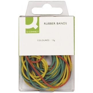 Q-Connect KF02032 - Gomas elásticas, medidas y colores surtidos, 40 mm y 80 mm, caja de 15 gr