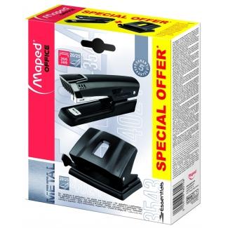 Maped Essentials - Grapadora-taladradora de sobremesa, 20 hojas de capacidad, perfora +10 hojas, usa grapas 22/6 - 24/6 - 26/6, color negro