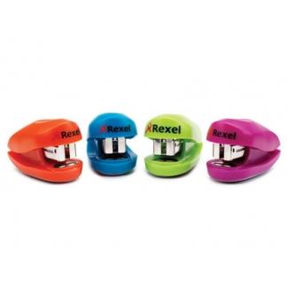 Rexel Buddy - Grapadora de bolsillo, 10 hojas de capacidad, usa grapas 22/6 - 24/6 - 26/6, colores surtidos