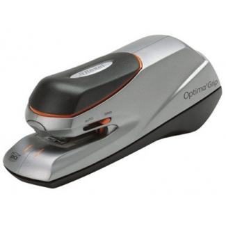 Rexel Optima Grip - Grapadora eléctrica, 20 hojas de capacidad, usa grapas optima hd40 - optima 56, color gris y negro con detalles en naranja