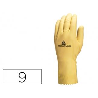 Guante Deltaplus de latex natural especial para trabajosde limpieza en general antialergicos talla 9
