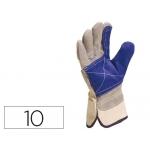 Guante Deltaplus docker serraje vacuno reforzado ideal para trabajos intensivo color gris-azul talla 10