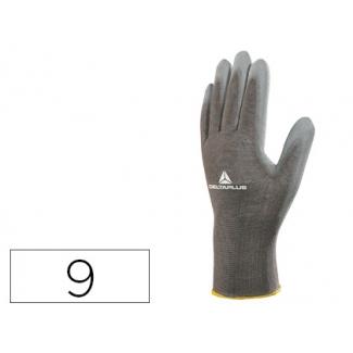 Guante Deltaplus poliester antideslizante lavable especial para manipulación y manutención color gris talla 9