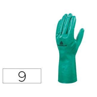 Guante Deltaplus tratado en nitrilo flocado de algodon especial para trabajos con líquidos químicos talla 9