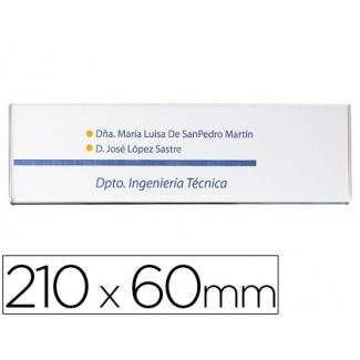 Portanombre con adhesivo trasero en poliestireno transparente 210x60 mm