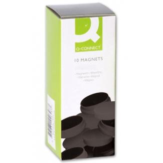 Imanes para sujeción Q-Connect ideal para pizarras magneticas 20 mm color negro caja de 10 imanes