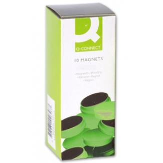 Imanes para sujeción Q-connect ideal para pizarras magneticas 20 mm color verde caja de 10 imanes