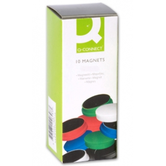 Imanes para sujeción Q-Connect ideal para pizarras magneticas 20 mm colores surtidos caja de 10 imanes